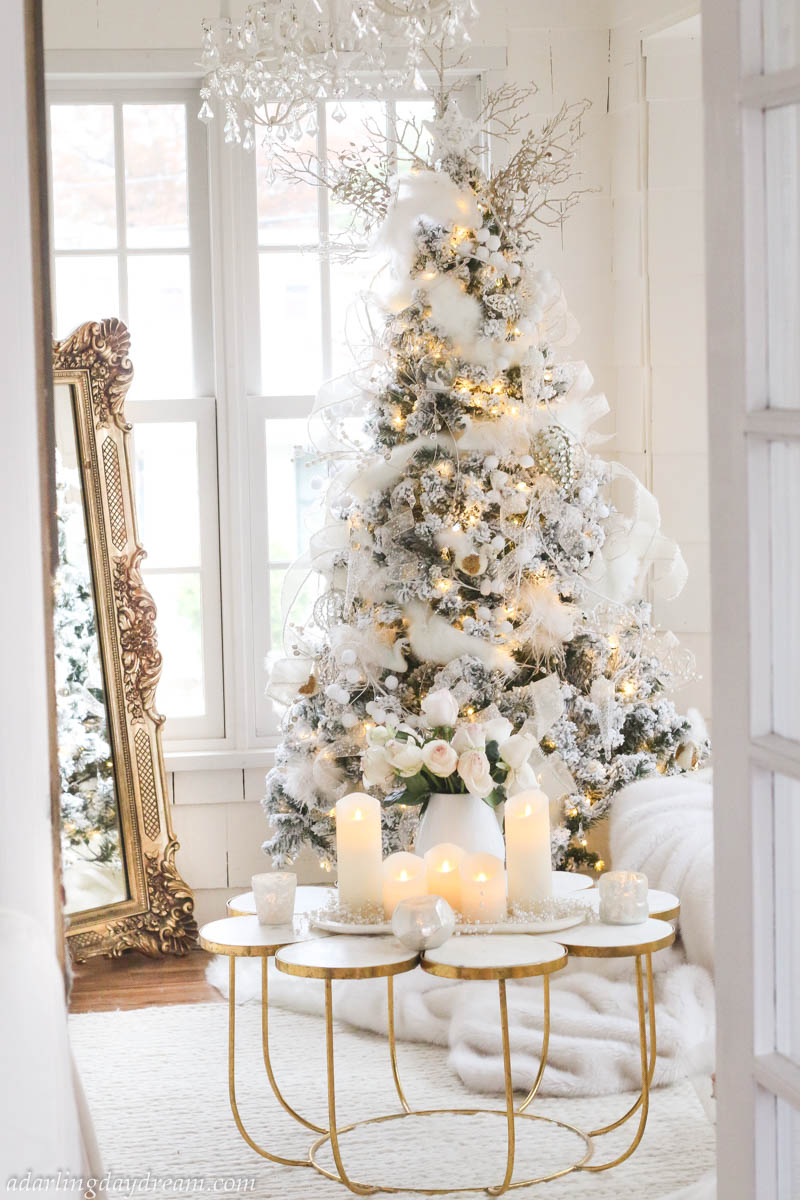 Flocked-Christmas-Tree-Brass-Mirror-Christmas-Decor-White-Christmas_